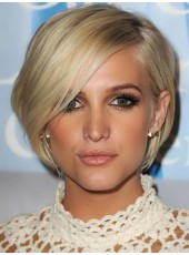 Top Quality Short Oblique Bangs Ombre Blonde Straight 100% Human Hair Cheap Wigs