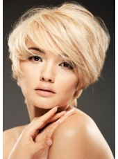Glueless Cap Short Golden Straight Oblique Bangs Hairstyle 100% Indian Human Hair Wigs