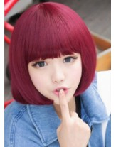Charming  Hairstyle Red Wine Color  Capless Synthetic Hair Wig With Full Bang About 12 Inches