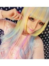 Harajuku Daily Rainbow Color Long Wavy Lolita Cosplay Wig For Girl