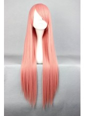 Custom 80cm Long Pink Straight Side Bangs Cosplay Cheap Synthetic Wigs