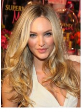 "22"" Indian Virgin Hair Long Deep Wave Ombre Gold Candice Swanepoel Hairstyle Full Lace Wigs"