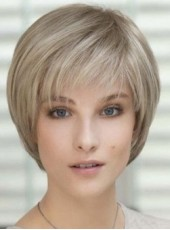 Custom Mature Lady Hairstyle Short Gray Oblique Bangs Venation Hairstyle Capless Wig