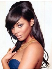 Custom Black Women Polish Black Long Elegant Straight Venation Lace Front Human Hair Wig About 20 Inches