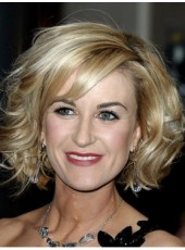 Mix Colour Short Oblique Bangs Fuller Natural Wave Hairstyle 100% Human Hair Wigs