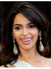 "Best Quality Mallika Sherawat 16"" Medium Loose Wave Hairstyle 100% Remy Human Hair Wigs"