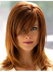 100% Human Hair Red Brown Medium Side Bangs Straight Glueless Lace Wigs