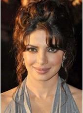 Priyanka Chopra Medium Loose Wave Natural Black Eversion Bangs Hairstyle Human Hair Wigs