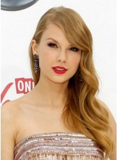 100% Indian Human Hair Long Deep Wave Taylor Swift Hairstyle Lace Front Brown Wigs