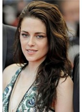 Top Quality 100% Human Remy Hair Kristen Stewart Long Loose Wave Lace Front Wigs
