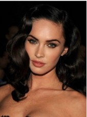 African American Synthetic Hair Megan Fox Lace Front Long Deep Wave Wigs For Black Women