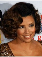 Celebrity Eva Longoria Medium Ombre Fuller Deep Wave Lace Front Human Hair Wigs