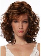"16"" Medium Jon Renau Bright Brown Deep Wave Hairstyle Capless Synthetic Hair Wigs"