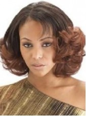 Custom Glueless Full Lace Medium Ombre Color Eversion Deep Wave Human Remy Hair Wigs