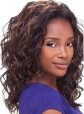 Lace Front Long Natural Wave Dark Brown African American Hair Wigs For Black Women
