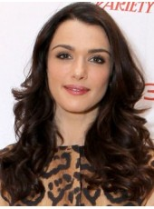 Glueless Lace Front Dark Brown Rachel Weisz Long Deep Wave 100% Human Hair Wigs