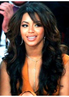 "Celebrity Beyonce Hairstyle 24"" Side Bangs Deep Wave Wigs For Black Women"