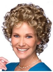 "Fashion 10"" Polish Brown Mix Color Heat Resistant Hair Short Curly Cheap Prom Wigs"