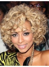 Celebrity Keri Hilson Curly Hairstyle Short Golden Heat Resistant Synthetic Hair Wigs