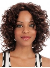 "14"" Medium Dark Brown Curly Top Quality Synthetic Hair Wigs For Black Women"