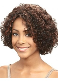Celebrity Cabelo African American Curly Hairstyle Short Mixed Color Wigs For Black Women
