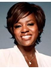 Custom 100% Human Hair Short Brown Straight Side Bangs Wigs For Black Women
