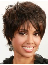 "10"" Short Straight Dark Brown Side Bangs Capless Top Quality Human Hair Wigs"