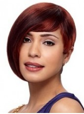 Custom Burgundy Short Side Long Bangs Hairstyle Capless Top Quality Synthetic Wig