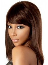 Lifelike Dark Brown Medium Full Bangs Hairstyle Human Remy Hair Wigs For Black Women