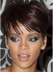 Black Lady's Lifelike Short Oblique Bangs Hairstyle Swiss Lace Front African American Human Hair Top Quality Wig