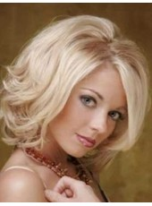 Attractive Blonde Medium Charming Wavy Venation Hairstyle Swiss Lace Front Indian Human Hair Wig