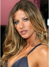Custom Celebrity Gisele Bundchen Long Mixed Color Wavy Hairstyle Top Quality Lace Front Lifelike Wig