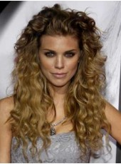 About 24 Inches Human Remy Hair Impressive Celebrity Annalynne Mccord Long Wavy Brown Hairstyle Top Quality Lace Front Wig