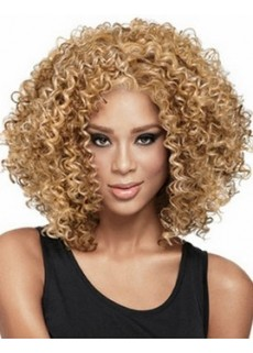Unique Charming Curly Hairstyle Swiss Lace Front Medium African American Hair Synthetic Wig About 16 Inches