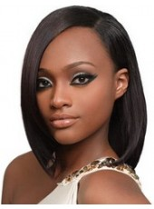 Polish Black Impressive Celebrity Duby Medium Straight African American Synthetic Hair Lace Front Wig About 14 Inches