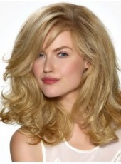 Custom Celebrity Saint Algue Long Blonde Charming Wavy Swiss Lace Front Synthetic Hair Wig About 18 Inches