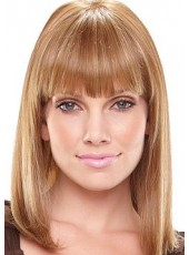 Custom Top Quality Medium Blonde Straight Hairstyle Capless Synthetic Hair Wig About 14 Inches