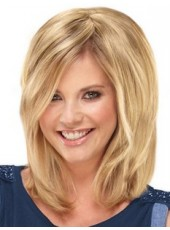 Custom Best Quality Blonde Medium Wavy Bouncy Venation Hairstyle Lace Front Synthetic Wig About 14 Inches