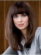Custom Dark Brown Long Straight Hairstyle 120% Synthetic Hair Density Capless Wig About 18 Inches