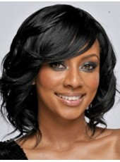 Impressive Natrual Black Celebrity Keri Hilson Medium Wavy Lace Front Synthetic Wig About 14 Inches