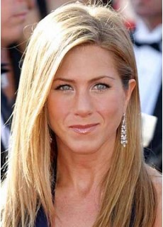 100% Human Hair Celebrity Jennifer Aniston Long Straight Venation Hairstyle Full Lace Wig About 20 Inches