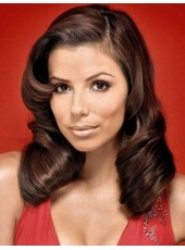 Celebrity Eva Longoria Sexy Long Brown Charming Wavy Hairstyle Lace Front Synthetic Top Quality Wig About 20 Inches