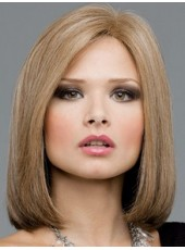Impressive Medium Blonde Straight Venation Hairstyle Swiss Lace Front Synthetic Fashion Trendy Wig