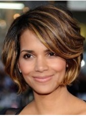 Attractive Sexy Celebrity Halle Berry Mixed Color Short Wavy Bouncy Venation Hairstyle Lace Front Synthetic Wig