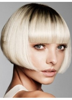 Custom Top Quality Short White Bob Hairstyle Capless Synthetic Soft Wig