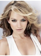 Celebrity Becki Newton Long Golden Elegant Wavy Hairstyle Capless Human Hair Wig About 18 Inches