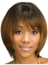 Custom Top Quality Sepia Short Sweetheart Bob Hairstyle Capless Synthetic Soft Wig