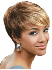 Top Quality Short Mixed Color Oblique Bangs Staright Venation Hairstyle Capless Synthetic Wig