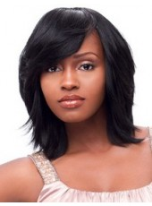 Top Quality Natural Black African American Synthetic Hair Medium Venation Hairstyle Lace Front Wig