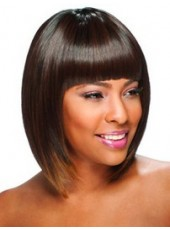 Polish Black Short Popular Bob Hairstyle Capless Top Quality Synthetic Wig